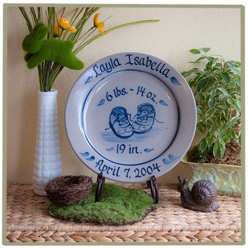 Personalized New Baby Booties Birth Plate