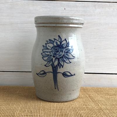 Sunflower salt glaze pottery utensil jar