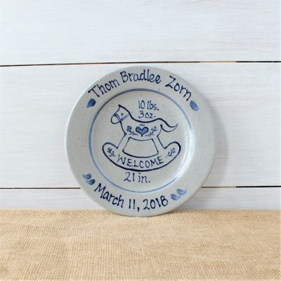 "9"" Birth Plate- Personalized- Rocking Horse Pattern"