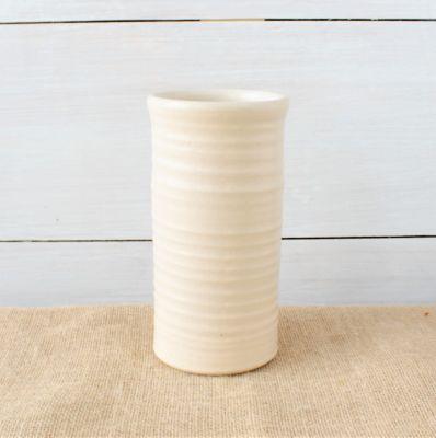 Farmhouse Ridges Short Vase - Drift White