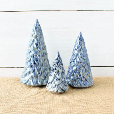 Cornerstone Village Trees (Set of 3)- Blue