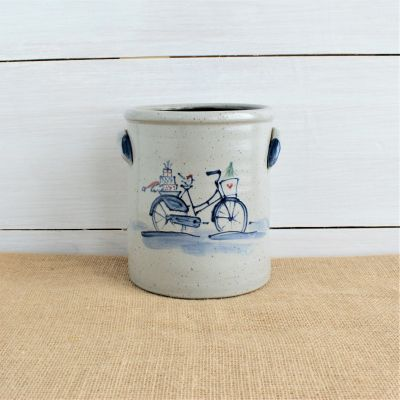 Classic 1/2 Gallon Crock- Holiday Bike