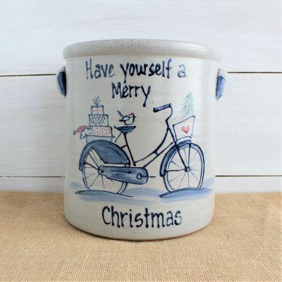 Classic 2 Gallon Crock - Holiday Bike