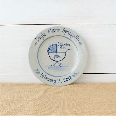 """9"""" Birth Plate- Personalized Baby Buggy Pattern"""