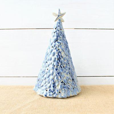 Village Square Lighted Tree - Blue